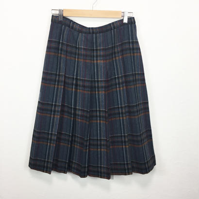 gray check pleats wool skirt