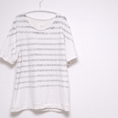 【web限定】ボーダー手刷りのプリントカットソー 3ws-001 A.offwhite