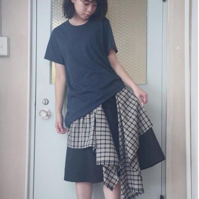 [受注]ひらひらチェック2wayスカート B.ブラック