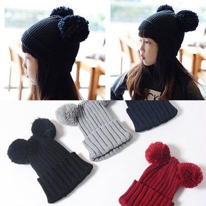 送料無料 knit hat★ぼんぼんニット帽