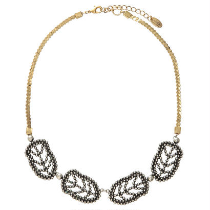 FEATHER cut steel short necklace