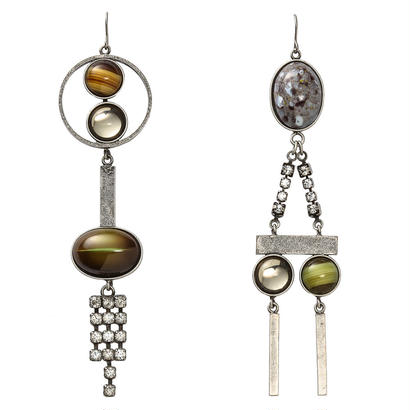 EARTH asymmetry long pierce/earring (silverxgray)