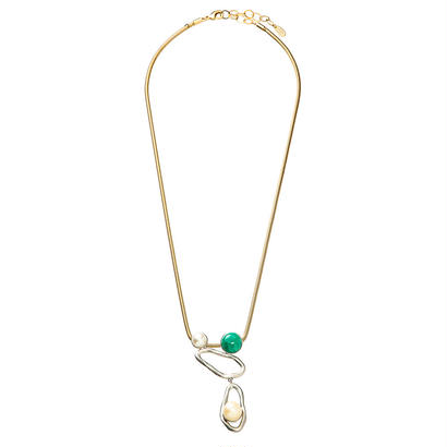 COSMO long necklace (silver x green)