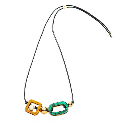 RETRO lether adjaster necklace (gold)