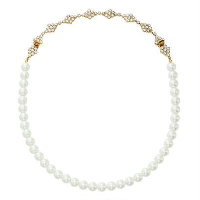 DIAMANTE 2way pearl necklace