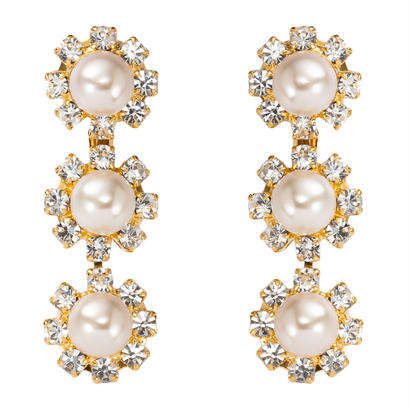 pearl flower earring long
