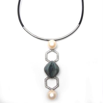 RETRO leather necklace(blue×black)