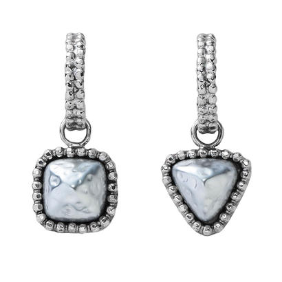 CUTSTEEL baroque pearl hoop pierce/earring (silver)