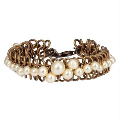 pearl chain bracelet(vintage gold)