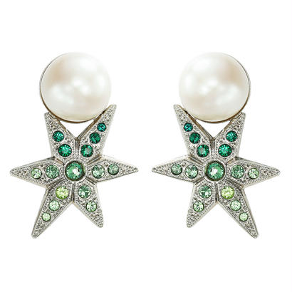 STAR pearl pierce / earring color stone