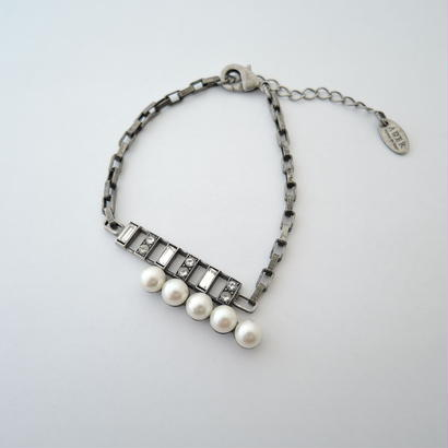 chain rectangle bracelet(vintage silver)
