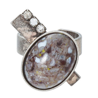 EARTH oval stone ring (gray x silver)