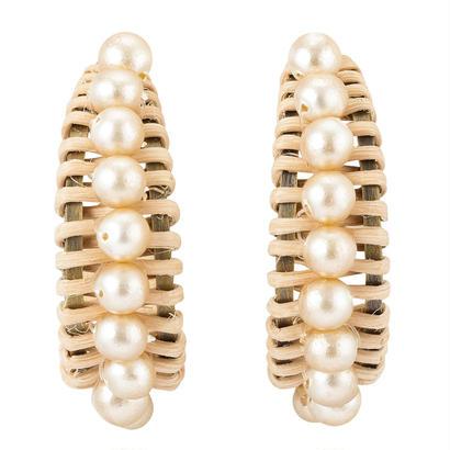 RATTAN peal earring/pierce