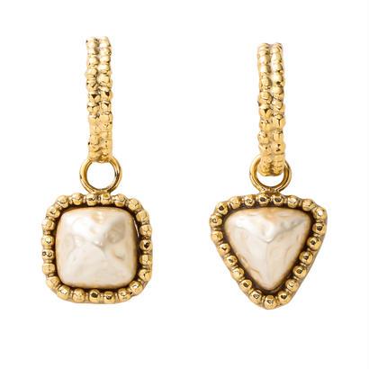 CUTSTEEL baroque pearl hoop pierce/earring (gold)