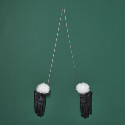 Chain Pom Pom Fur Globe - White