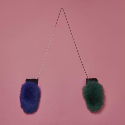 Chain Fox Fur Globe - Green & Blue x Silver
