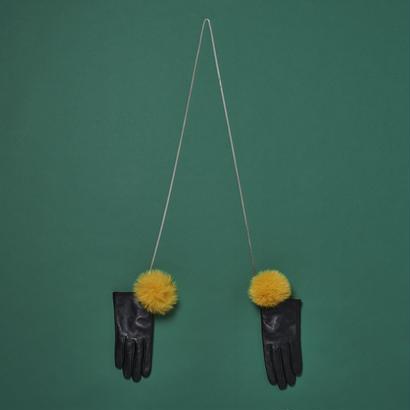 Chain Pom Pom Fur Globe - Yellow