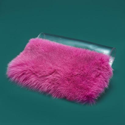 PVC × fur cluch bag  -  PINK
