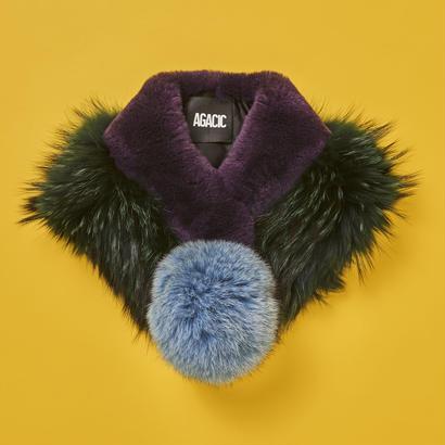 Pompom muffler  -  Purple×Green×S.Blue