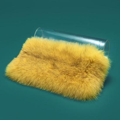 PVC × fur cluch bag  -  YEL