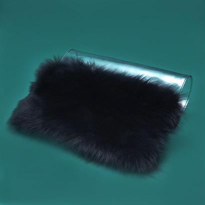 PVC × fur cluch bag  -  BLK
