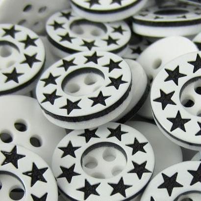 レトロ ボタン スター Black