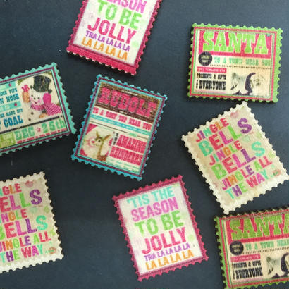 貼り付けパーツ 切手型 ウッド2個