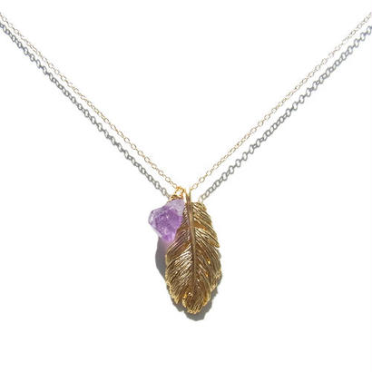 Amethyst ×Feather Necklace -B-