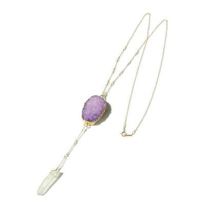 Drusy × Crystal Rosario Necklace