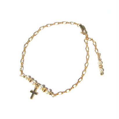 Putit pearl × cross bracelet