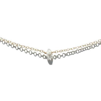 Skinny Necklace -Double point Quartz-