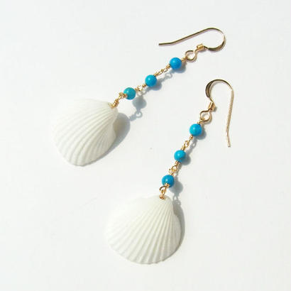 Turquoise × White Shell Pierce -short-