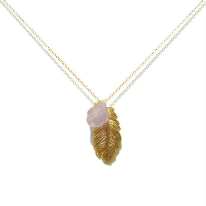 Amethyst ×Feather Necklace -A-