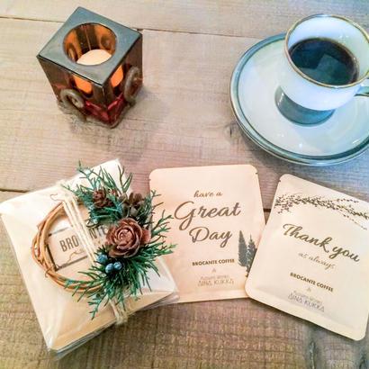 WINTER[Flower & Coffee SET]ミニリース+メッセージドリップバック5個セット