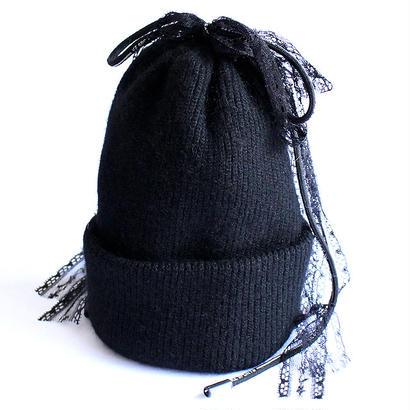 【albino select】 コード×レース付きミドルゲージニット帽