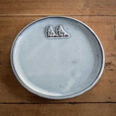 【受注制作】ふわふわ犬の中くらいのお皿 17センチ