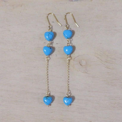 heart long earrings