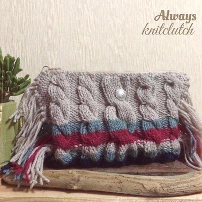 frienge knit  clutchbag
