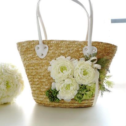お花のカゴバッグ【ホワイトグリーン】