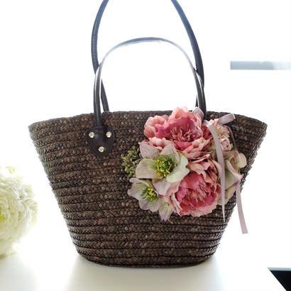 お花のカゴバッグ【モーブピンク】