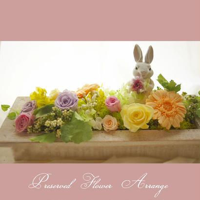 プリザーブドフラワーギフト/うさぎ入り、ウサギなし選べるアレンジ。置き型壁掛けなど、飾る場所やお好みでセレクト。プリザーブドフラワーアレンジ