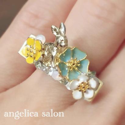 フラワーガーデンリング/お花畑、物語りのようなデザインリング、指輪