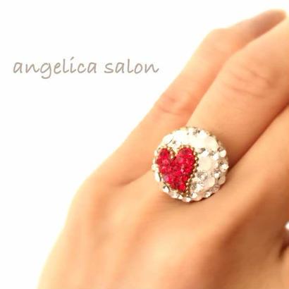 ハッピーリング♡ お守りリング/ 赤いハートのキュートな指輪・スワロフスキークリスタルのクリアな輝きに、Happy Ring!ワクワクな時間をご一緒に♡