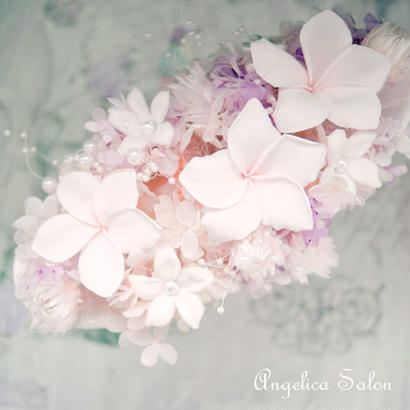 希少なピンクのプルメリア プリザーブドフラワーアレンジ/ジャスミンのエレガントなアレンジ 敬老の日/女性に人気