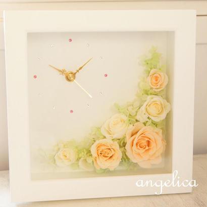 プリザーブドフラワーの壁掛け・置き型の2way タイプの時計