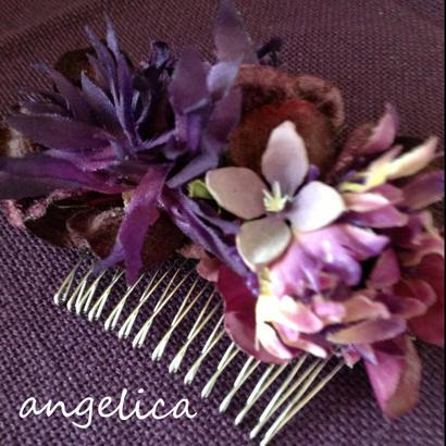【オリジナル商品】大人の髪飾り コームタイプ パープルのお花が華やか。