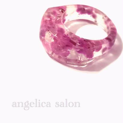 期間限定特別割引!女性らしいパープルピンクのプリザーブドフラワーを閉じ込めて,  透明リング/クリアービジュー ガラスの様な指輪