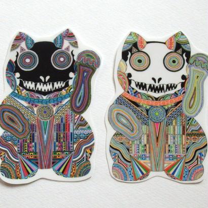 【ホワイトステッカー】招き猫 白猫&黒猫