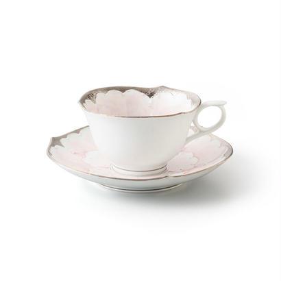 プラチナ牡丹(ピンク) −輪花− カップ&ソーサー