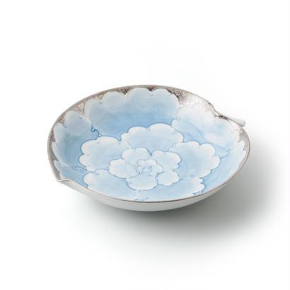 プラチナ牡丹(ブルー)りんご皿【大】